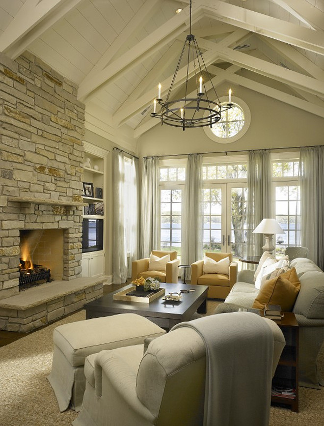 Living Room Fireplace Vaulted Ceiling Design