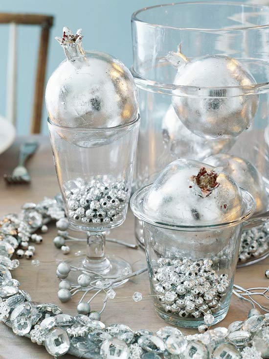 Silver Christmas Table Centerpiece