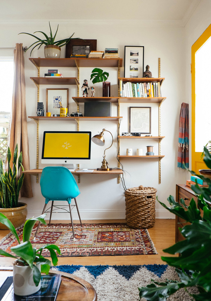 Small Space Living Room Ideas with a Desk