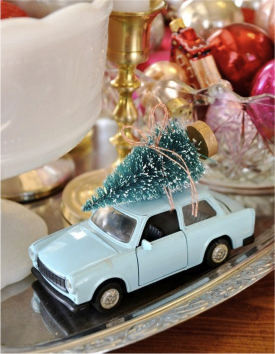 Vintage Christmas Tree On Car