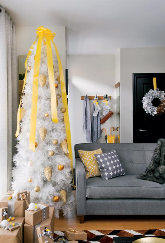 Yellow and White Christmas Tree