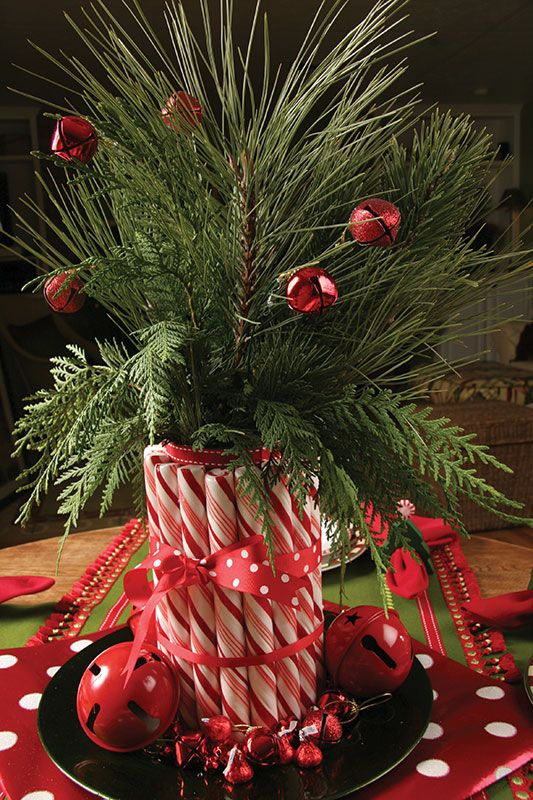 Christmas Centerpiece with Candy Canes
