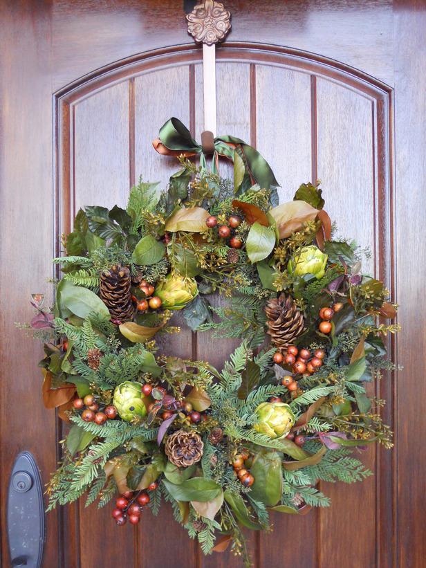Christmas Front Door Grapevine Wreath Ideas
