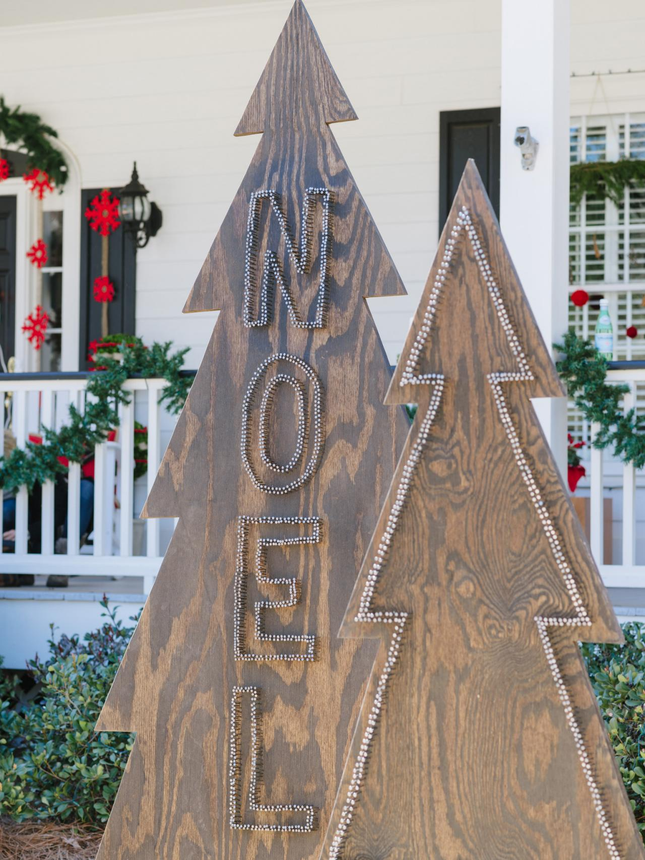 Christmas Tree Wooden Yard Decorations