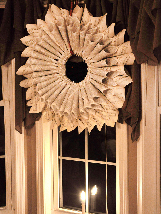Christmas Wreath Made with Sheet Music