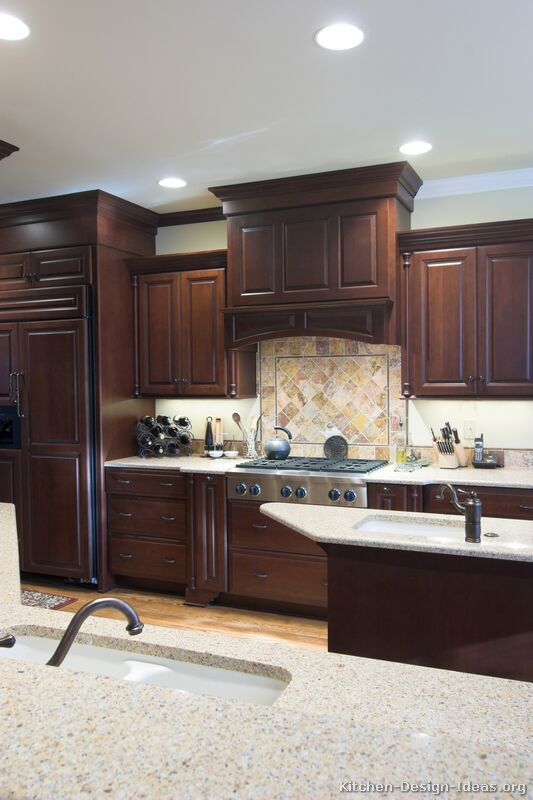 dark-cherry-wood-kitchen-cabinets