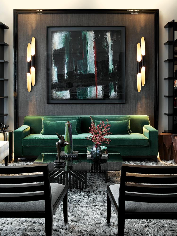 emerald-green-and-black-living-room