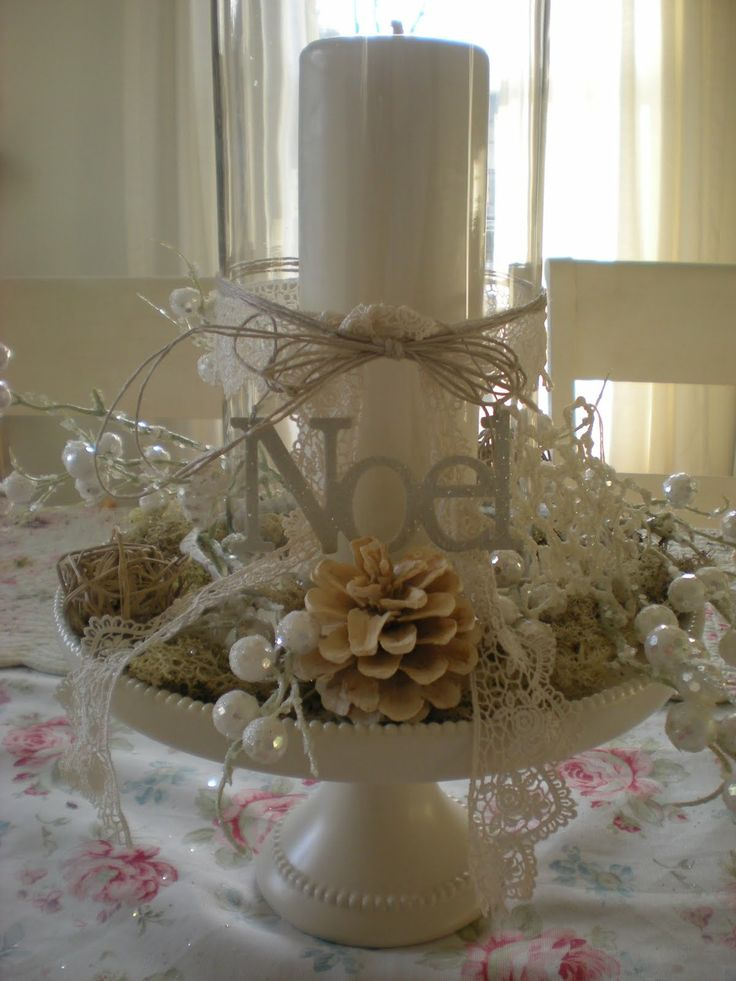 White Christmas Centerpiece Idea
