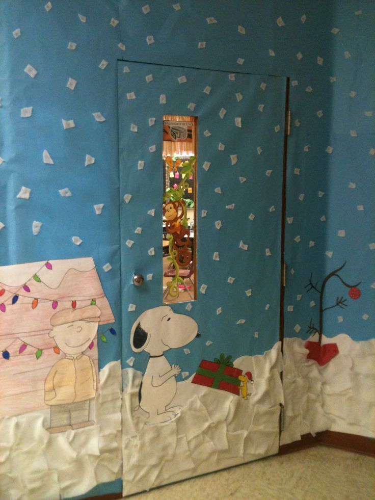 Winter Holiday Classroom Decorations ~ Charlie brown christmas door decorations