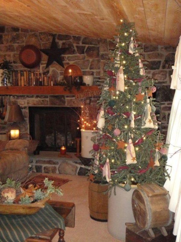 primitive-christmas-tree-decorating-design-ideas