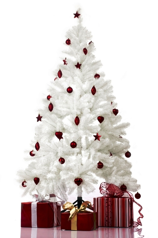red-and-white-decorated-christmas-trees