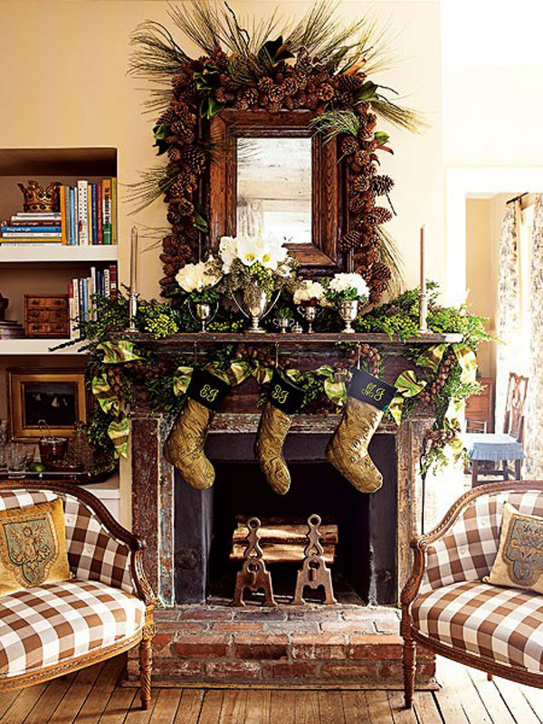 rustic-christmas-mantel-decorating-ideas