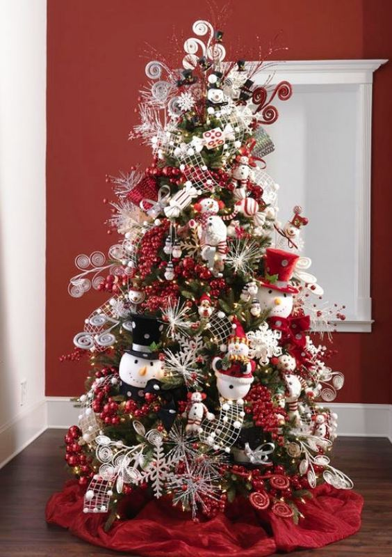 snowmen-decorated-christmas-trees