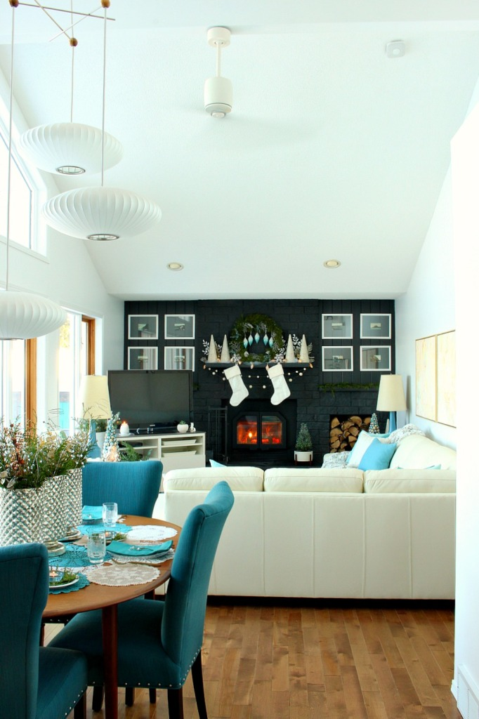 Wintry Blue and White Living Room