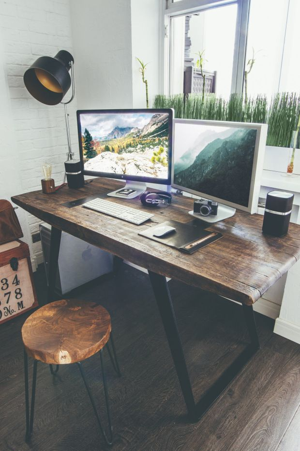 Beautiful Industrial Home Office Design
