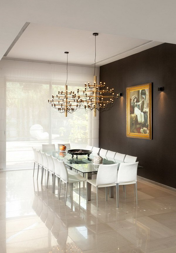 Contemporary Dining Room Design with Accent Wall