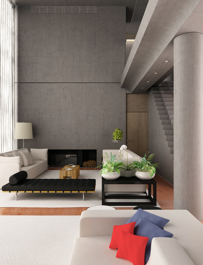 Contemporary Living Room Design with Plants