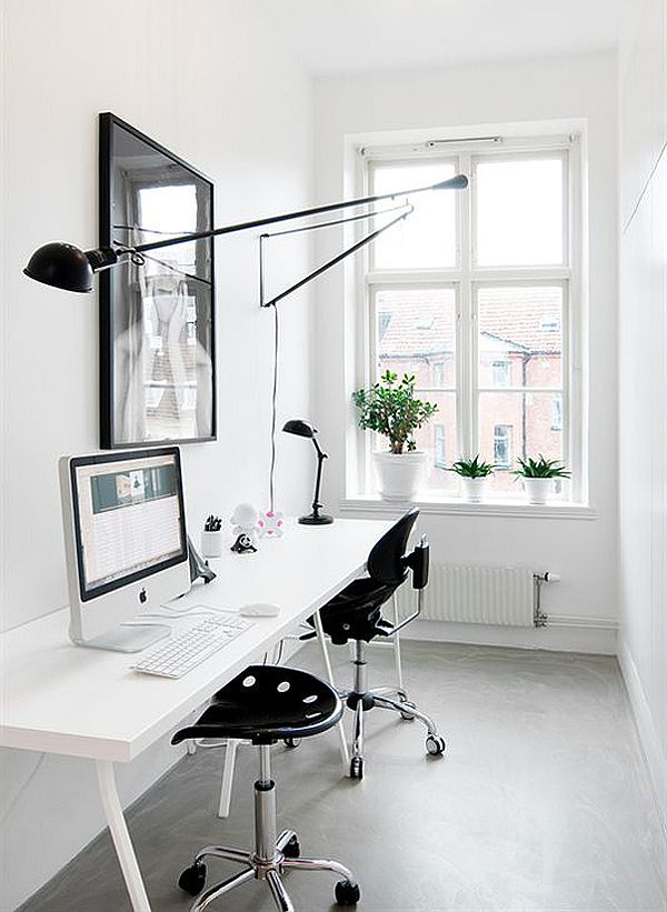 Monochromatic Industrial Home Office Design