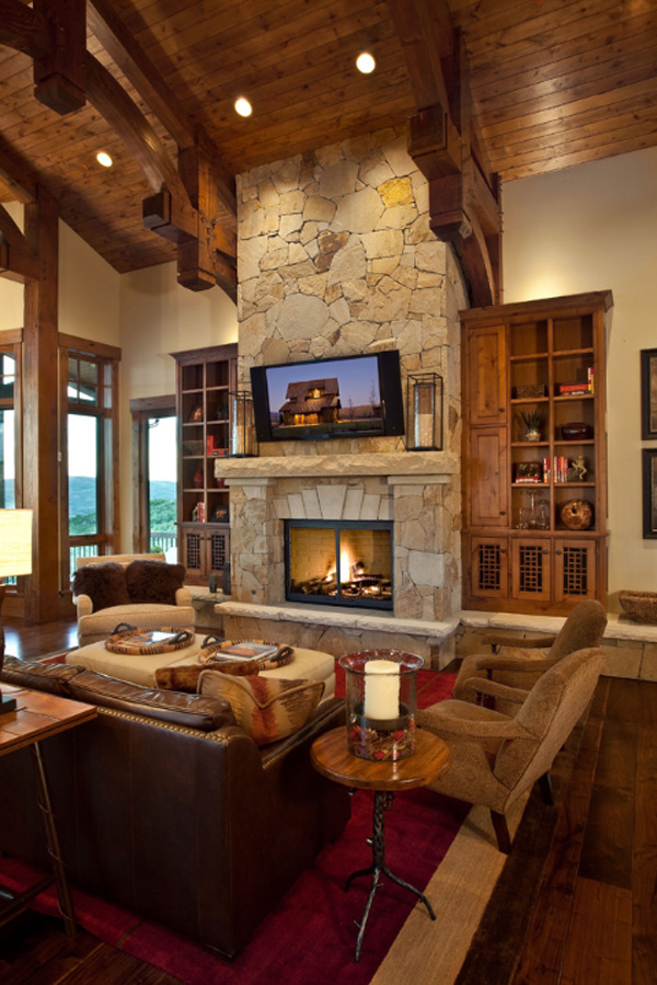 Rustic Living Room with Fireplace Ideas 2016