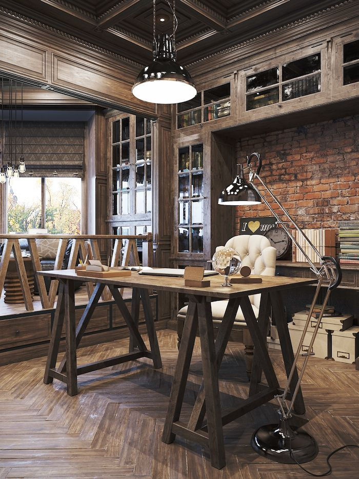 Rustic Transitional Home Office Design