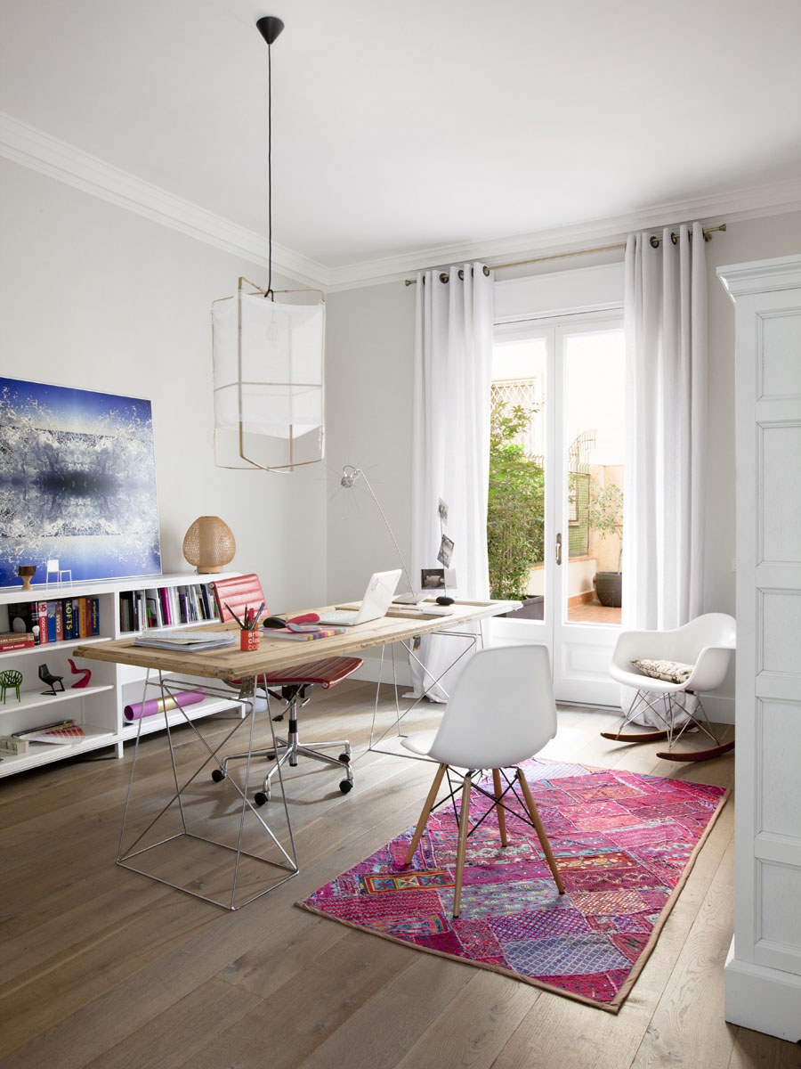 Scandinavian Home Office Design with Nature Painting