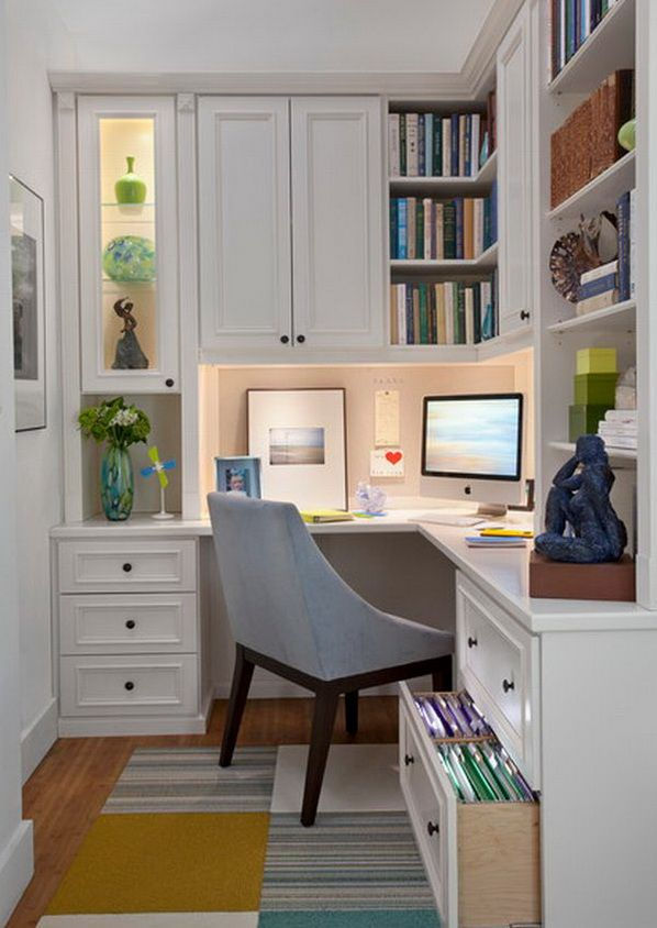 Small Shabby-Chic Style Home Office Design