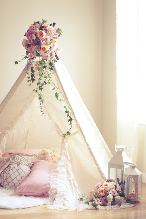 shabby chic baby nursery with tent decor