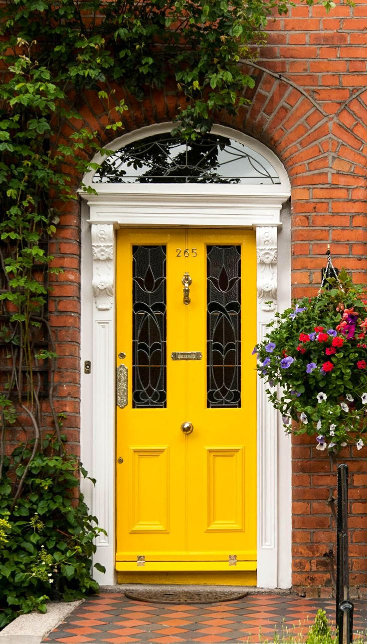 Bright Yellow Front Door Victorian Exterior Design