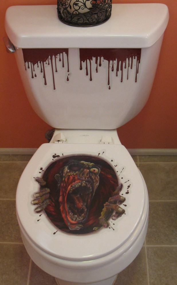 Charming White Ceramic Toilet With Scary Halloween Decorations