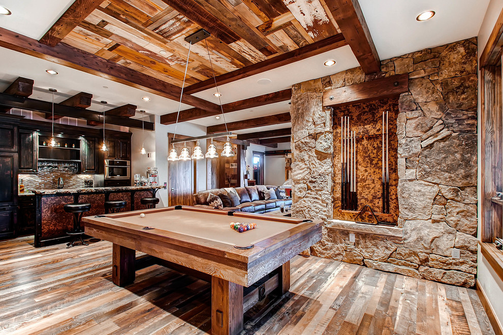 Amazing Rustic Basement Design