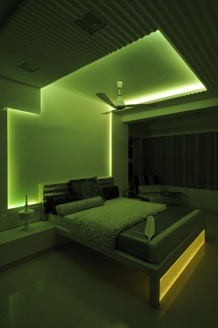 Green Master Bedroom With Neon light