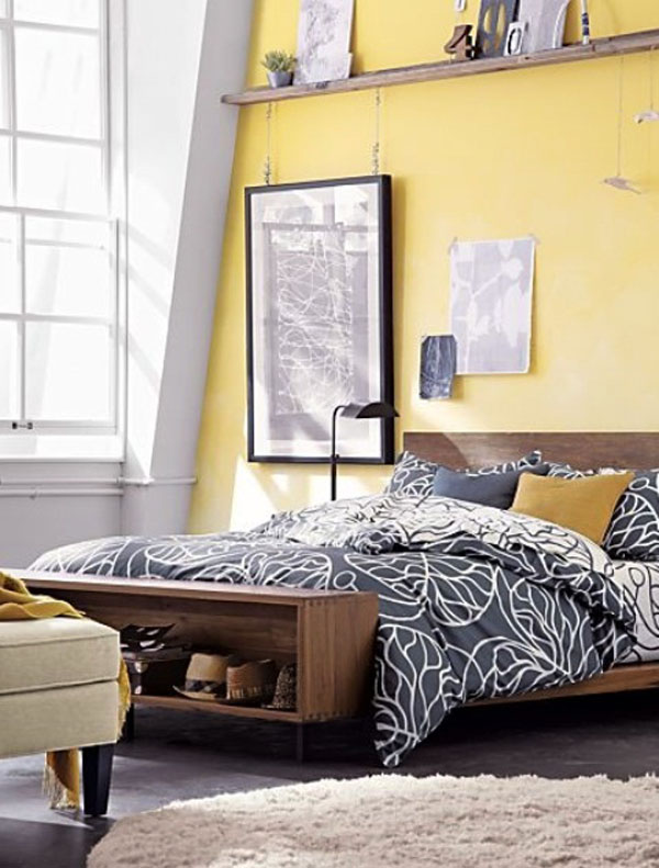 Bedroom with Yellow Walls