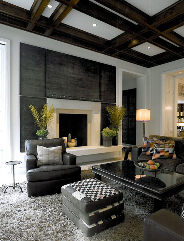 Modern Interior Design Living Room with Fireplace