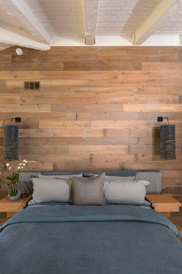 Reclaimed Wood Feature Wall Bedroom