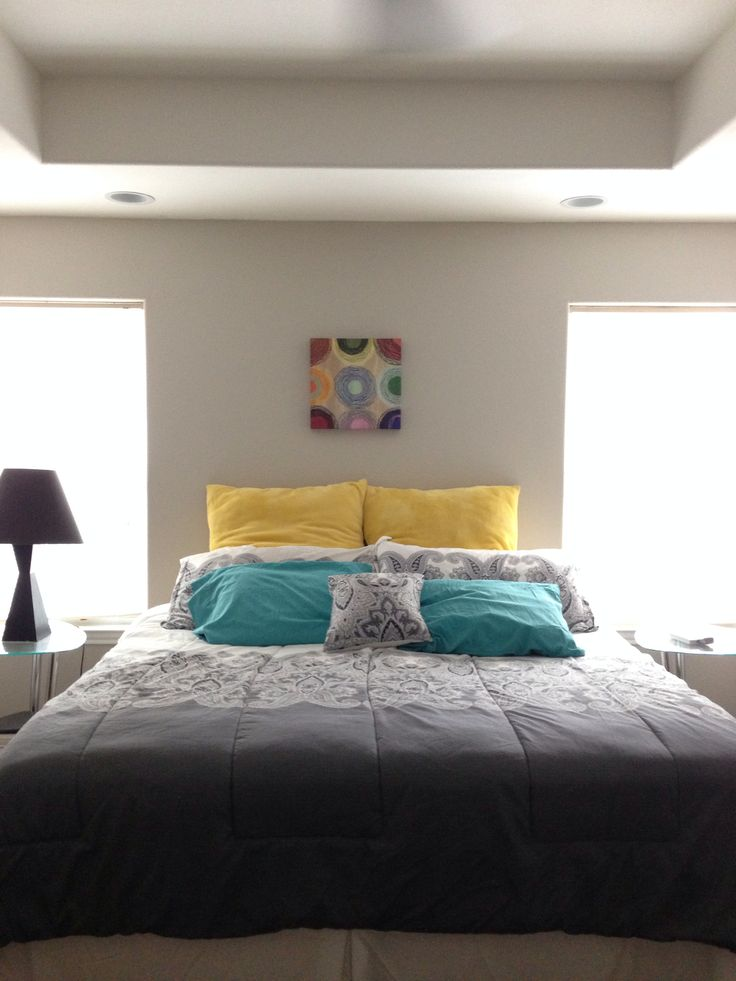 Teal Yellow Grey and White Bedrooms