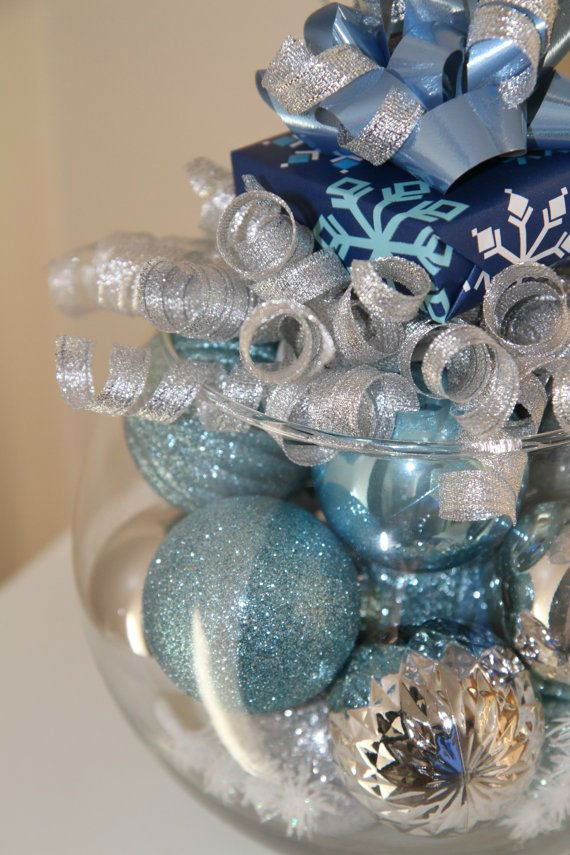 Blue and Silver Christmas Centerpieces
