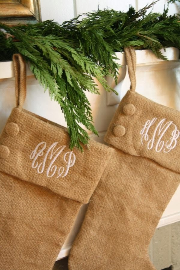 Monogrammed Stockings Burlap