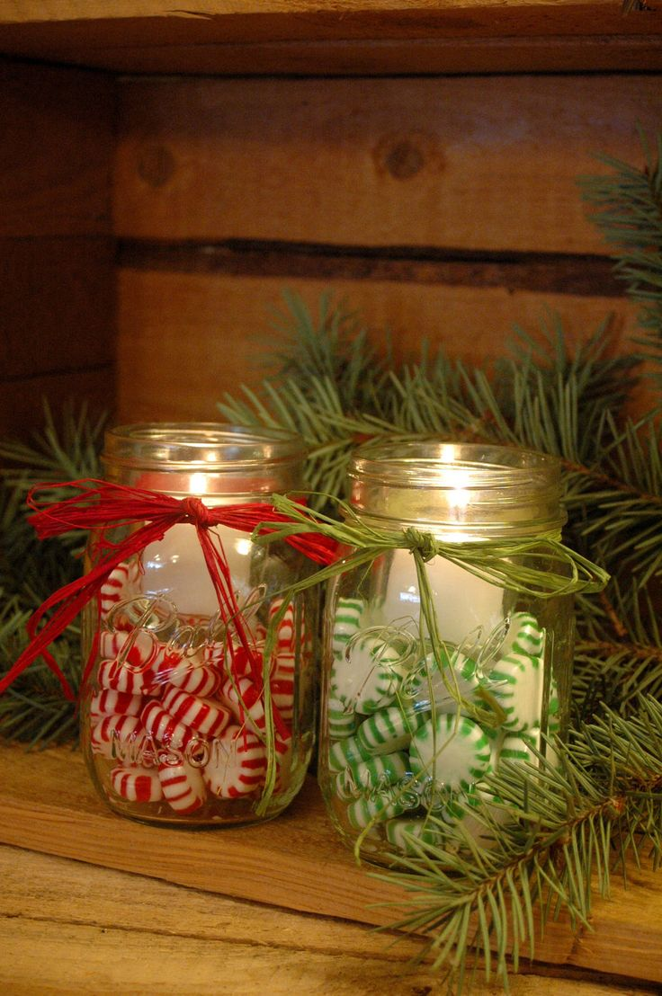 Christmas Candy Filled Mason Jars