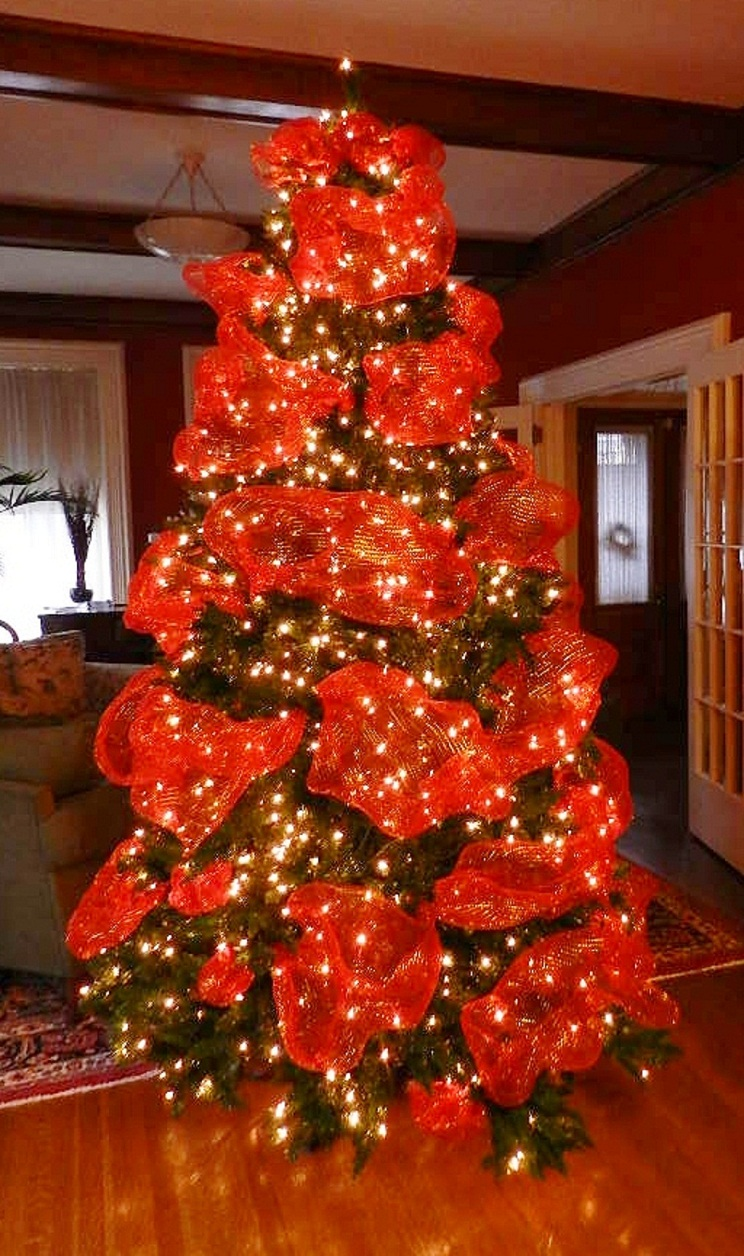 Christmas Tree Decorated with Ribbons