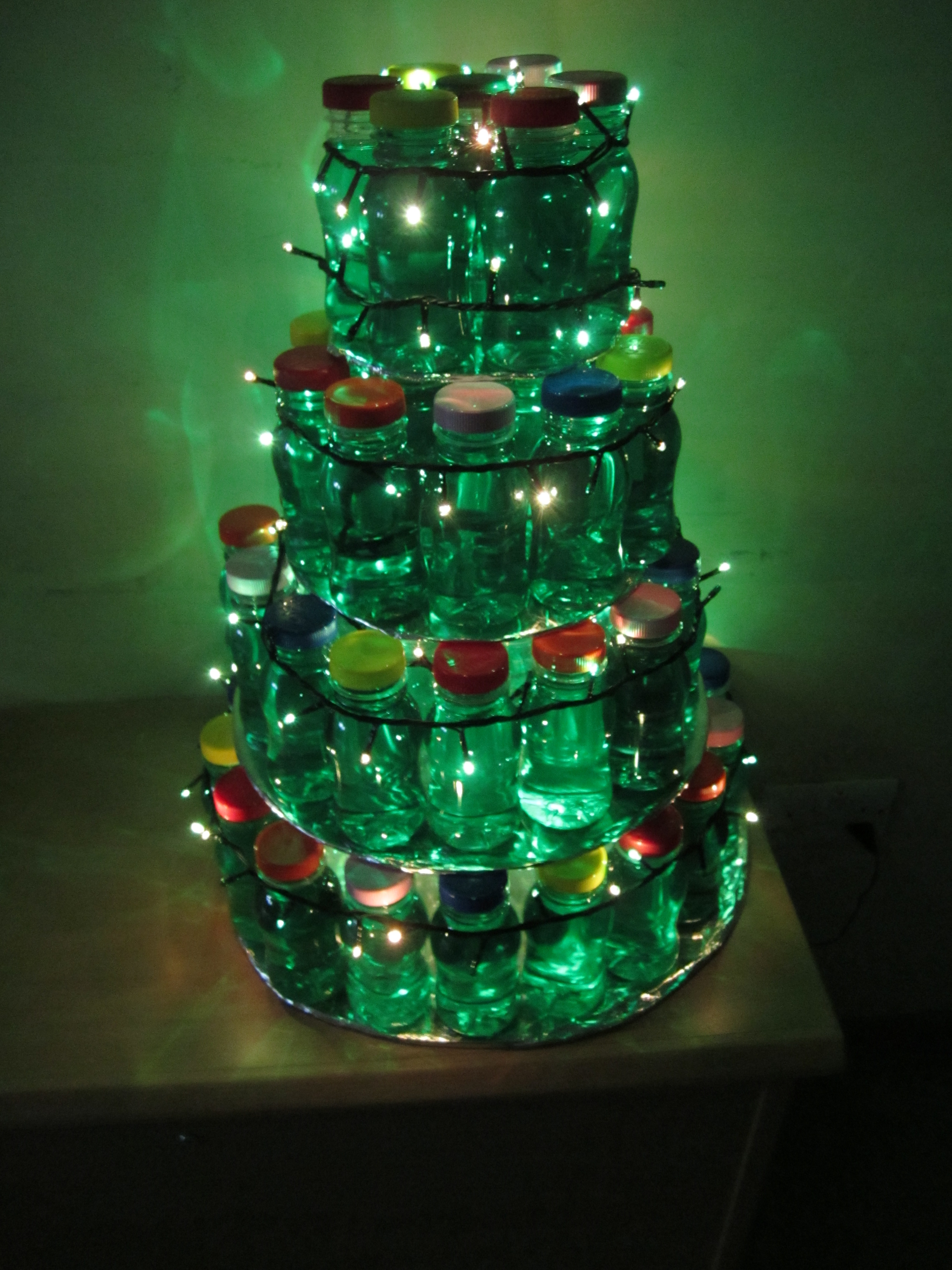 Christmas Tree Made Out of Bottles