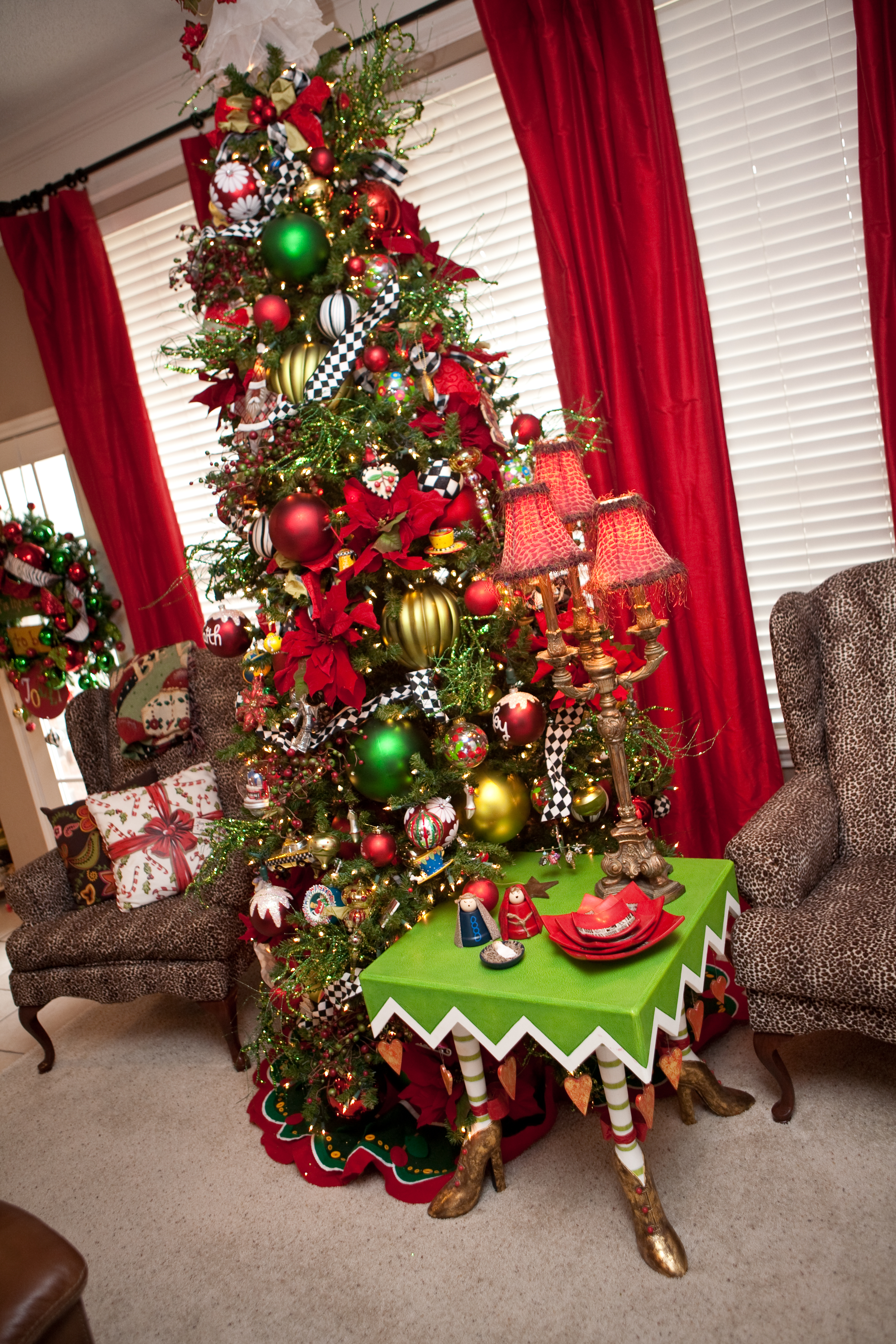 Red White and Green Whimsical Christmas Tree