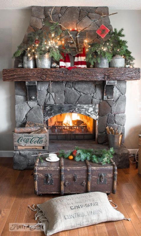 rustic-christmas-fireplace-mantel-ideas