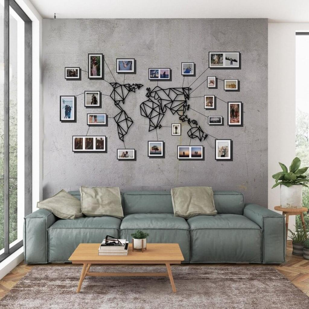 Decorate with photos around a decorative map